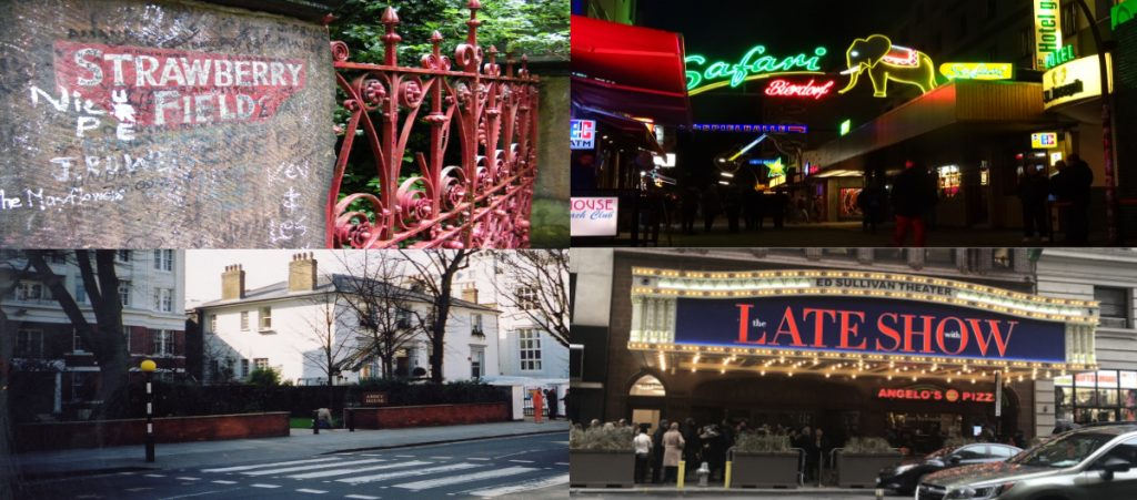 The Beatles Fab Four cities landmarks: Strawberry Field gates in The Beatles Liverpool; Grosse Freiheit in Hamburg, Abbey Road in London and the Ed Sullivan Theater in New York